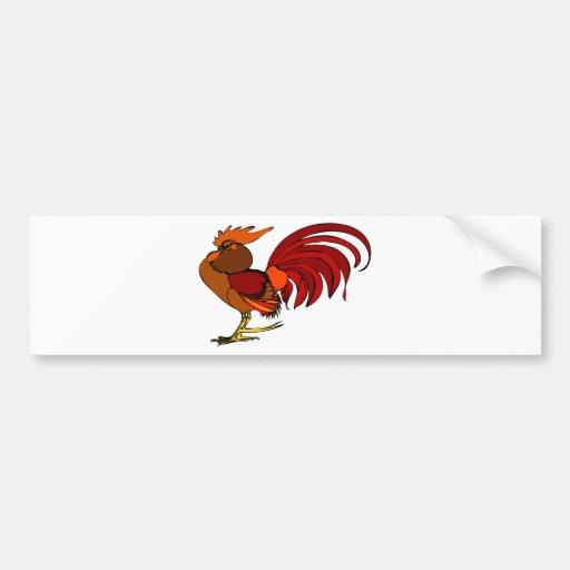 Stylized Cartoon Rooster Bumper Sticker