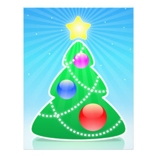 Stylized Christmas tree illustration Full Color Flyer
