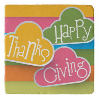 Stylized Colorful Text Happy Thanks Giving Trivet