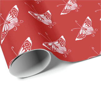 Stylized Deco butterfly  - Chinese red Wrapping Paper