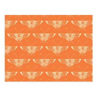 Stylized Deco butterfly  - coral orange Post Card