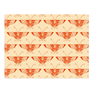 Stylized Deco butterfly  - mandarin orange Post Cards