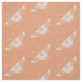 Stylized Deco Butterfly, Pastel Peach Fabric