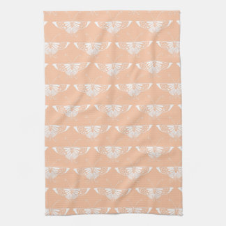 Stylized Deco butterfly  - soft peach Hand Towels