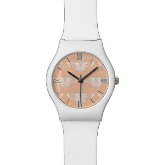 Stylized Deco butterfly  - soft peach Watch