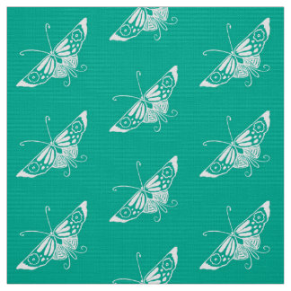 Stylized Deco Butterfly, Turquoise Fabric