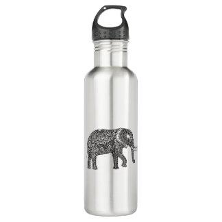 Stylized Fantasy Elephant Doodle 710 Ml Water Bottle