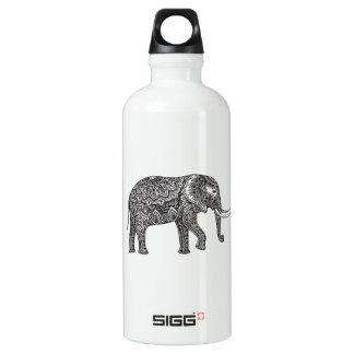 Stylized Fantasy Elephant Doodle Water Bottle