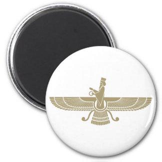Stylized Faravahar 6 Cm Round Magnet