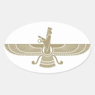 Stylized Faravahar Oval Sticker