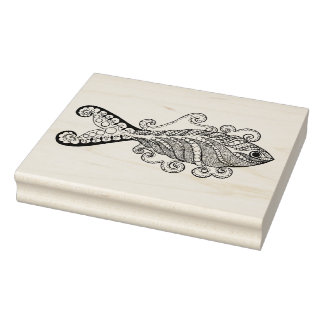 Stylized Fish Rubber Stamp