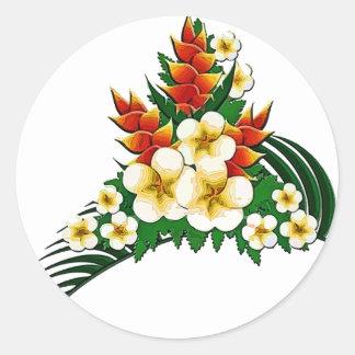 Stylized Ginger & Plumeria Fronds Classic Round Sticker