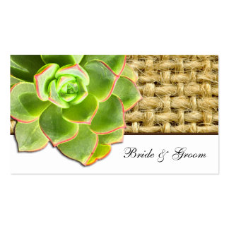 Stylized Hen and Chick Succulent Burlap Place Card Business Cards