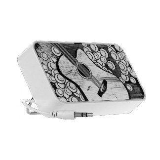 Stylized Ink Style Guitar Portable Speaker