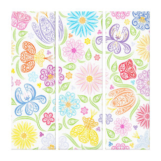 Stylized Lacy Floral Pattern Canvas Print