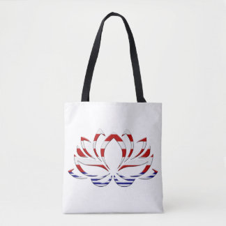 STYLIZED LOTUS FLOWER, Red White & Blue Tote Bag