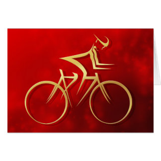 Stylized Man in Gold Cycling on a Red Sparkle Greeting Card