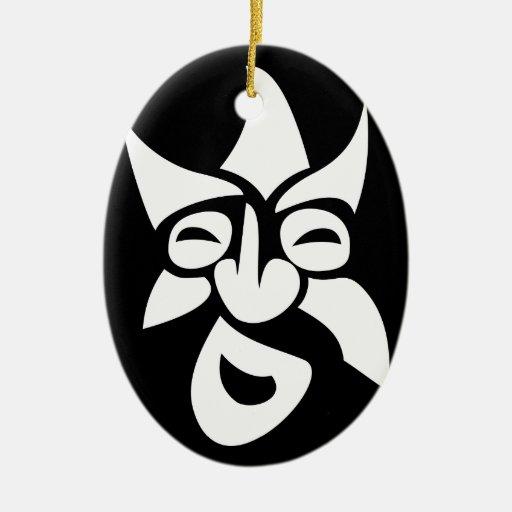 Stylized Mask Christmas Tree Ornament