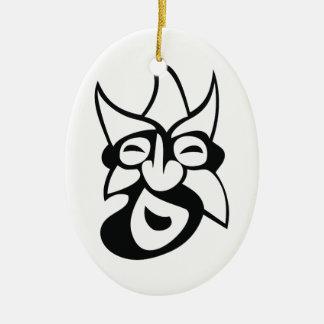 Stylized Mask Ceramic Oval Decoration