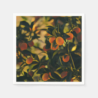Stylized Orange Tree Paper Napkin
