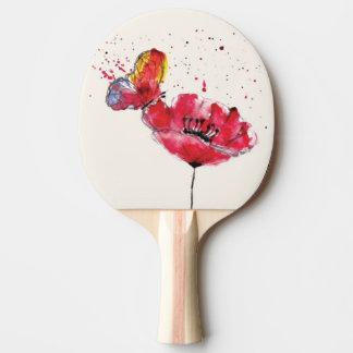Stylized painted watercolor poppy flower