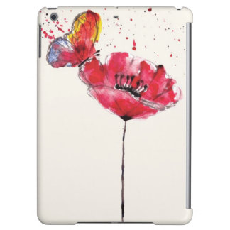 Stylized painted watercolor poppy flower