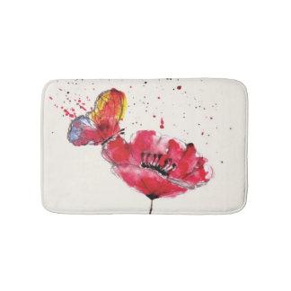 Stylized painted watercolor poppy flower bath mat