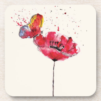Stylized painted watercolor poppy flower beverage coaster