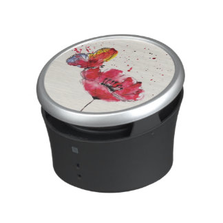 Stylized painted watercolor poppy flower bluetooth speaker