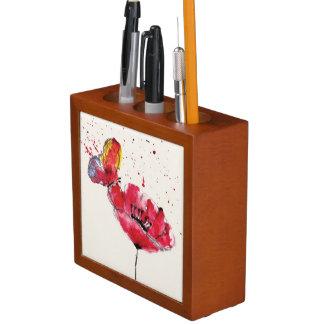 Stylized painted watercolor poppy flower desk organiser