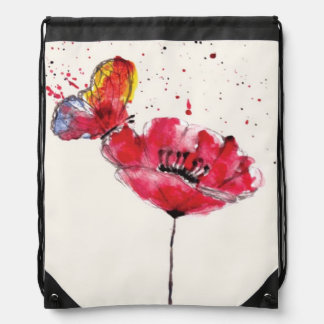 Stylized painted watercolor poppy flower drawstring bag