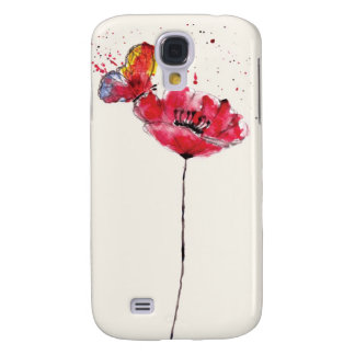 Stylized painted watercolor poppy flower galaxy s4 case