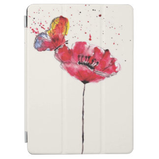 Stylized painted watercolor poppy flower iPad air cover