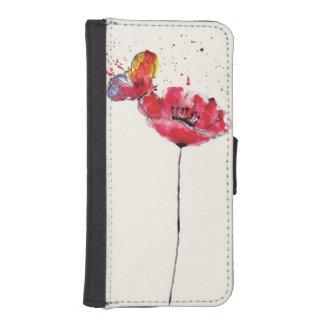 Stylized painted watercolor poppy flower iPhone SE/5/5s wallet case