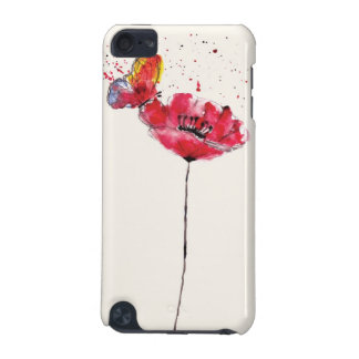 Stylized painted watercolor poppy flower iPod touch 5G case