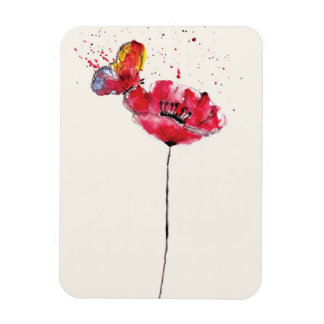 Stylized painted watercolor poppy flower rectangular photo magnet