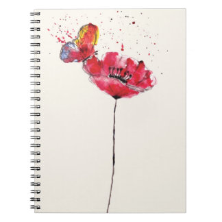 Stylized painted watercolor poppy flower spiral notebook