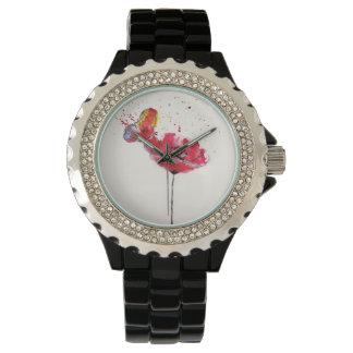 Stylized painted watercolor poppy flower watch