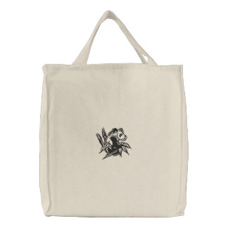 Stylized Panda Embroidered Tote Embroidered Tote Bags