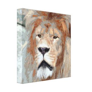 Stylized Photo Illustration Lion Face Stretched Canvas Prints