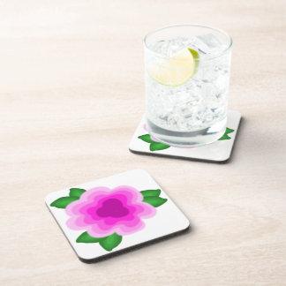 Stylized Pink Flower Coaster Set