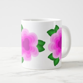 Stylized Pink Flower Latte Mug Jumbo Mug