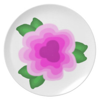 Stylized Pink Flower Plate
