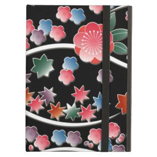 Stylized plum flowers on black japanese pattern iPad air case