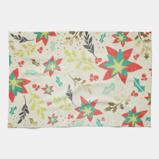 Stylized Poinsettia flowers with Leaves & Berries Tea Towels