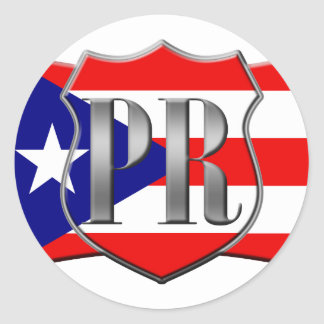 Stylized Puerto Rican Flag Classic Round Sticker