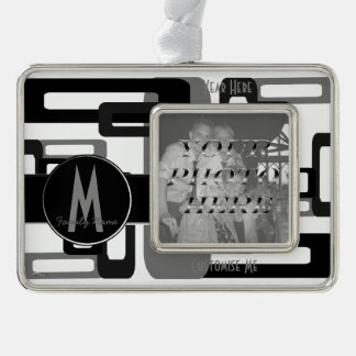Stylized Rectangles Grey/Black Silver Plated Framed Ornament