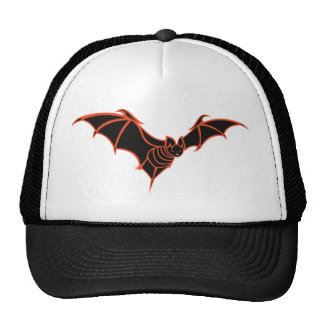 Stylized Red and Black Bat Cap