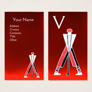 STYLIZED RED GOLFER ,GOLF INSTRUCTOR MONOGRAM BUSINESS CARD