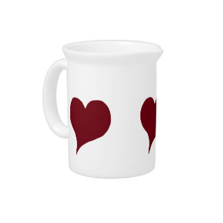 Stylized Red Heart Drink Pitcher